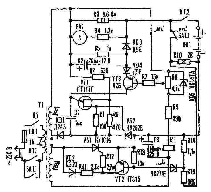 Рис. 1. Принципиальная схема зарядного устройства.  Регулирующим элементом является тринистор VS2, работающий в...