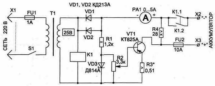 схема зарядное устройство для автомобильного аккумулятора.