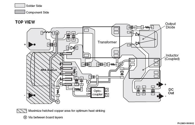 Рис. 2 показывает нам пример разводки печатной платы для прямоходового...