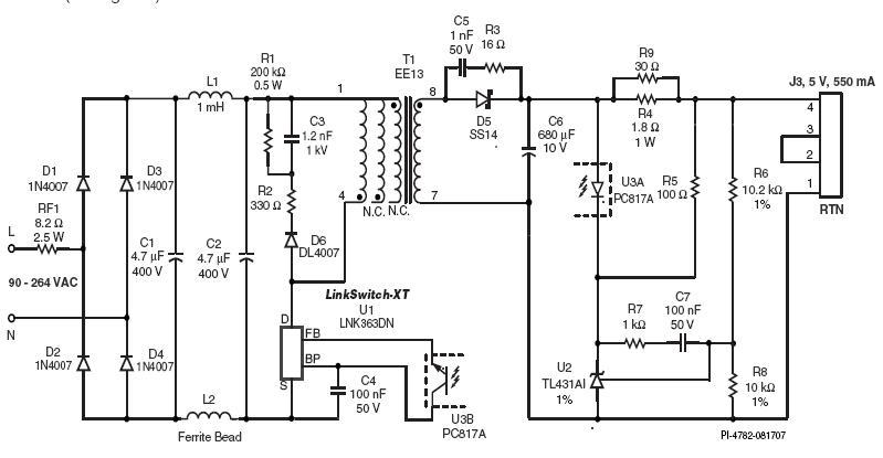 Схема основывается на микросхеме семейства LinkSwitch-XT