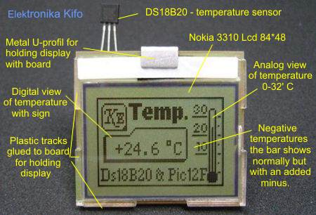 Nokia 3310 Lcd Thermometer Using DS18B20