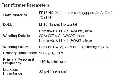 Параметры трансформатора