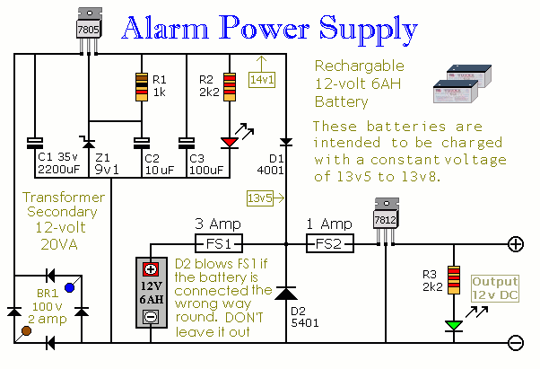 A Schematic Diagram Of An Uninterruptible Burglar Alarm Power Supply Unit