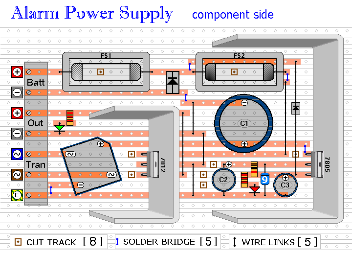 The Stripboard Layout Of The Uninterruptible Burglar Alarm Power Supply Unit