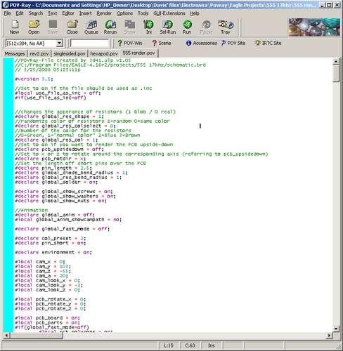 Теперь генерируем изображение! Для этого запускаем POV-Ray, открываем (в нем) .pov файл сгенерированный Eagle3D и нажимаем Run.