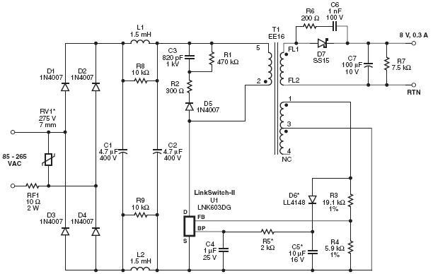 Рис. 1 Схема ЗПУ.  Работа схемы.