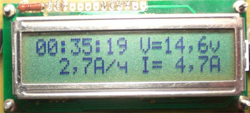 TINY13.  Зарядка шуруповерта. измеряет ёмкость,ток,напряжение и время.