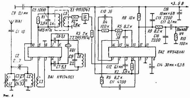 В качестве примера на рис. 4 приведена схема такого приемника.  Основные электрические параметры.