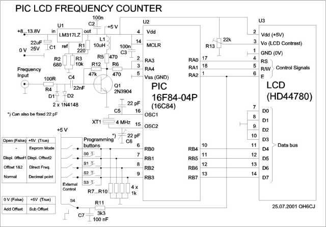 Частотомер на PIC контроллере PIC16F84 с LCD дисплеем.