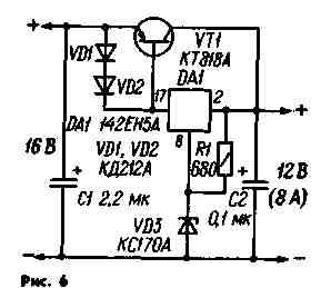 Схема стабилизатора напряжения с ограничением тока через регулирующий транзистор.