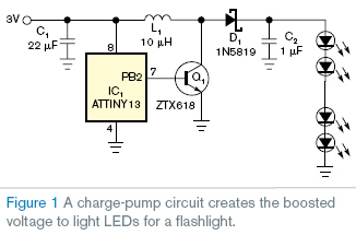 Five- to 10-LED flashlight circuit runs at 3 V