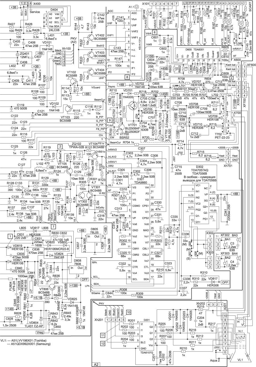 Схема электрическая телевизора рубин