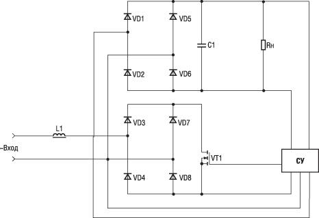 Повышение частоты работы ККМ позволяет сократить габариты фильтра (рисунок 6). При открытом силовом ключе VT1 ток в...