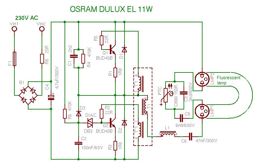 Лампа EUROLITE 23W имеет классическую схему подключения.