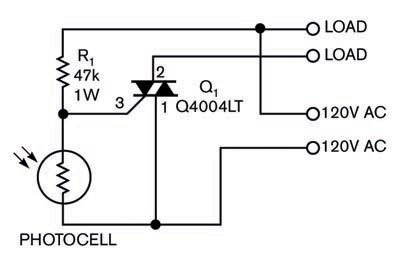 Schematics on dc photocell switch circuit