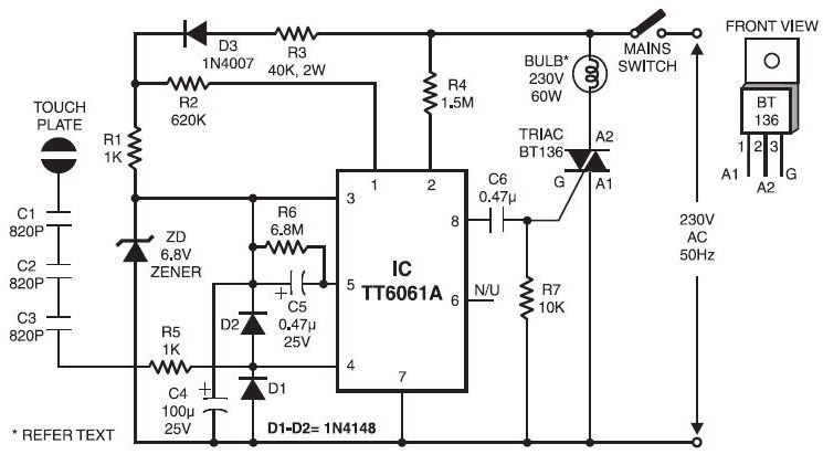 7 touch dimmer circuit using triac circuit diagram description