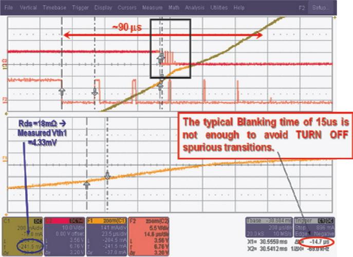Паразитные переключения затвора низкого плеча (красный) во время выключения