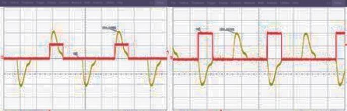 Vg3, Vg4: сигнал затвора Q2 и Q4 и ток сети питания