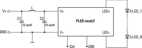 Схема включения драйвера серии PLED