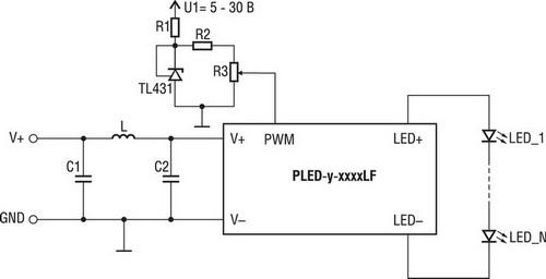 Схема, где ток светодиодов управляется аналоговым напряжением с помощью переменного резистора