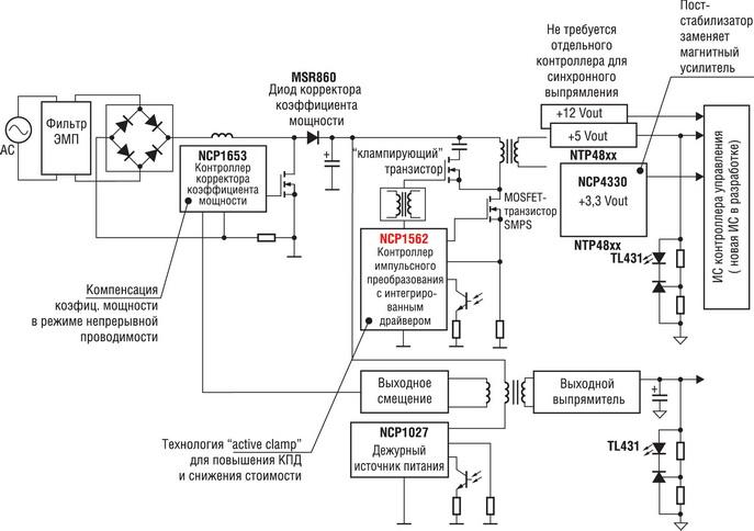 Высокоэффективный блок питания ATX мощностью 305 Вт, базовая схема.