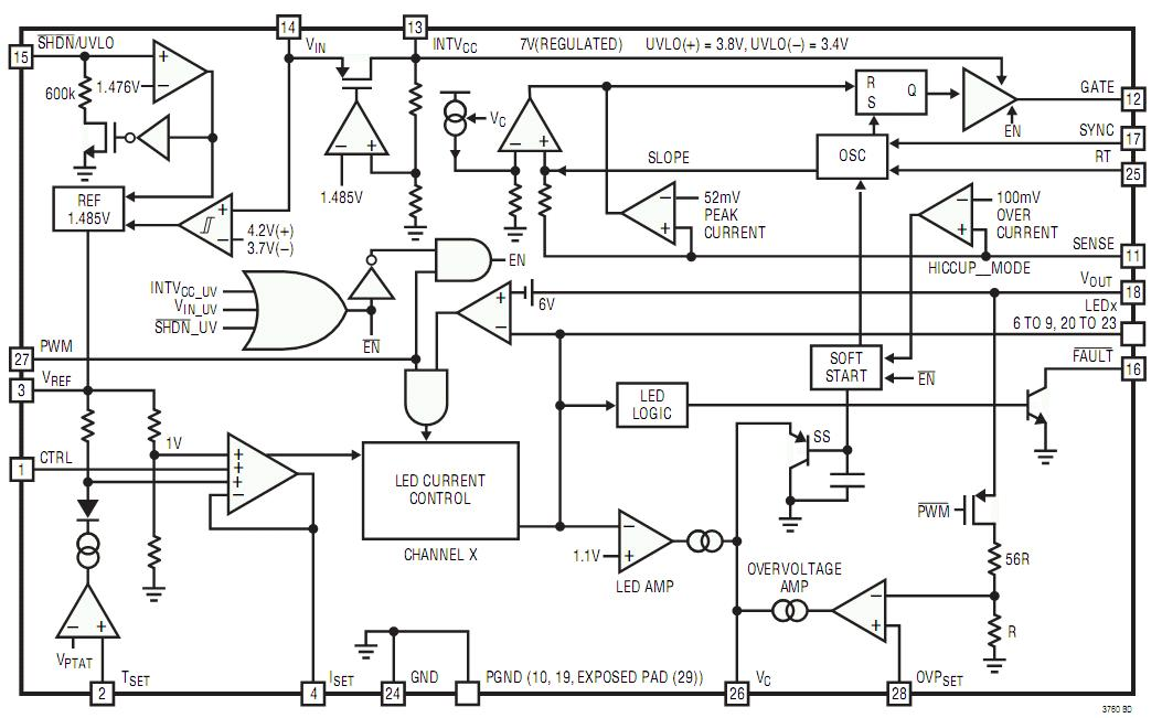 lt3760  drive up to eight channels of ten 100ma leds with 3000 1 true color pwm dimming