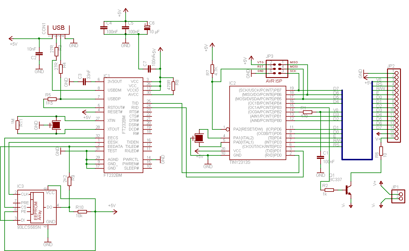 usb interface for parallel lcds USB to Serial Schematic click to enlarge
