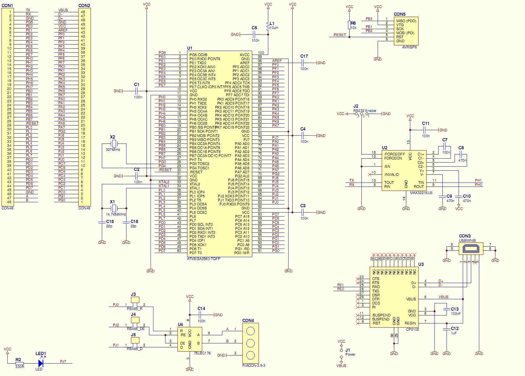 Microcontroller Module With Atmega2560 Chip45 Crumb2560 11 Documents Schematic Of The Rs232 Adapter Click To Enlarge