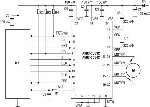 Схема включения AMIS-30532/42