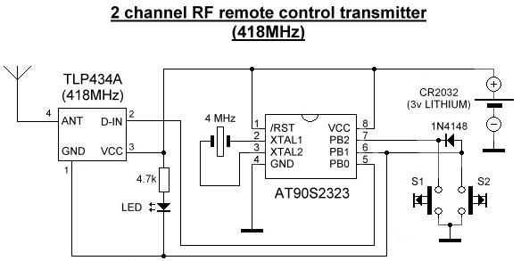 2 channel remote control transmitter schematic