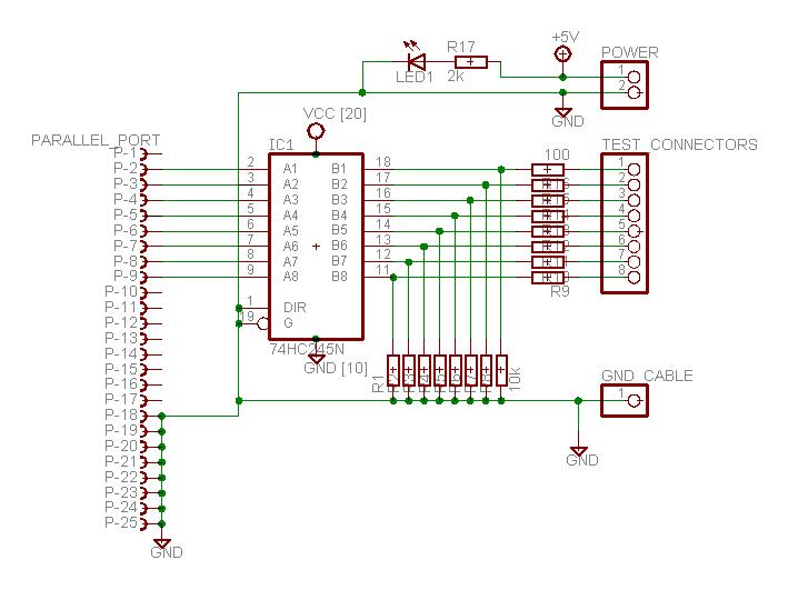Parallel port logic analyzer