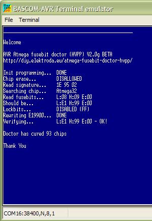 содержимое окна терминальной программы Восстановление конфигурации Fuse-битов микроконтроллеров семейства ATmega AVR (HVPP)