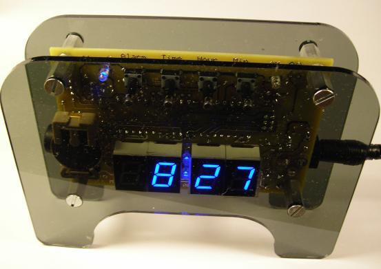 Blue Clock (Atmel Atmega8535 microcontroller). The fully assembled clock