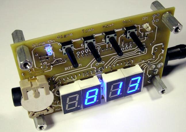 Blue Clock (Atmel Atmega8535 microcontroller). The bottom of the circuit board