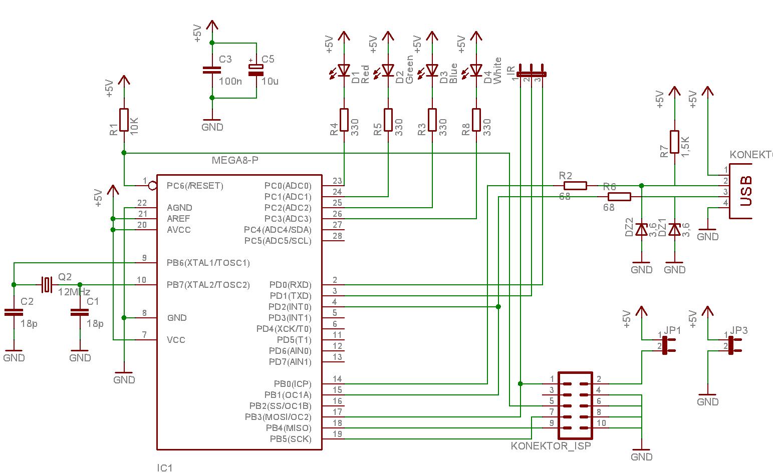 AVR IR Downloader: Host-device Shematic Diagram