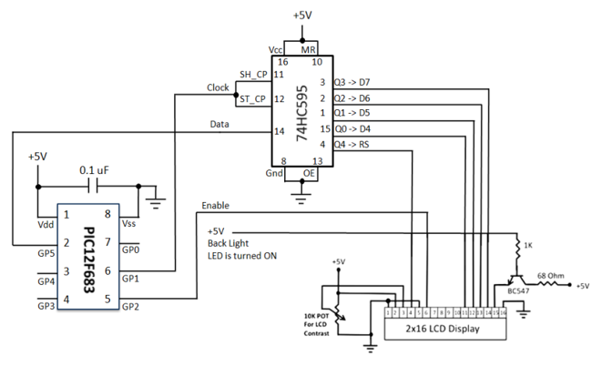 Schematic Diagram: 3-Wire Serial LCD using a Shift Register: PIC12F683