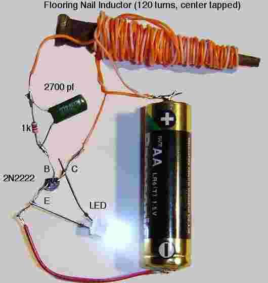 Ночной свет ржавого гвоздя.  Эта схема питания светодиода была смонтирована в течение нескольких минут из бросовых.