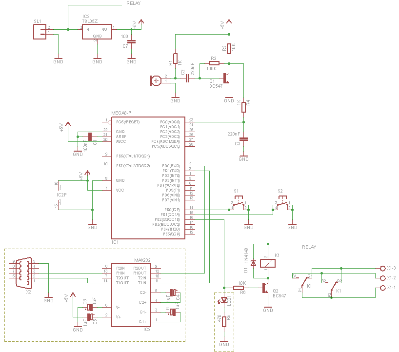 Microcontroller Clapper Switch Schematic