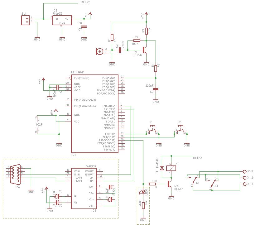 Microcontroller Clapper Switch Schematic