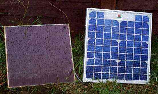 Picture of two panels out in the garden under the solar intensity levels typically found in the UK.