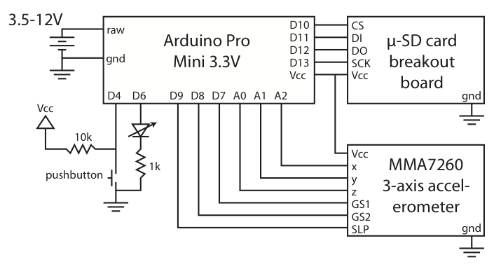 Arduino datalogging accelerometer with µ-SD storage. Schematic