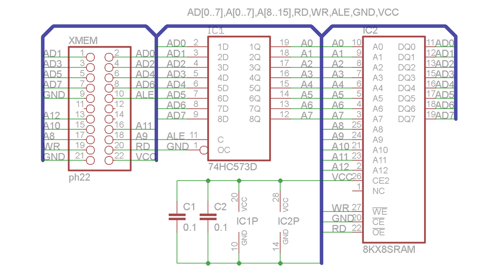 Schematic: Adding external memory to Atmega128
