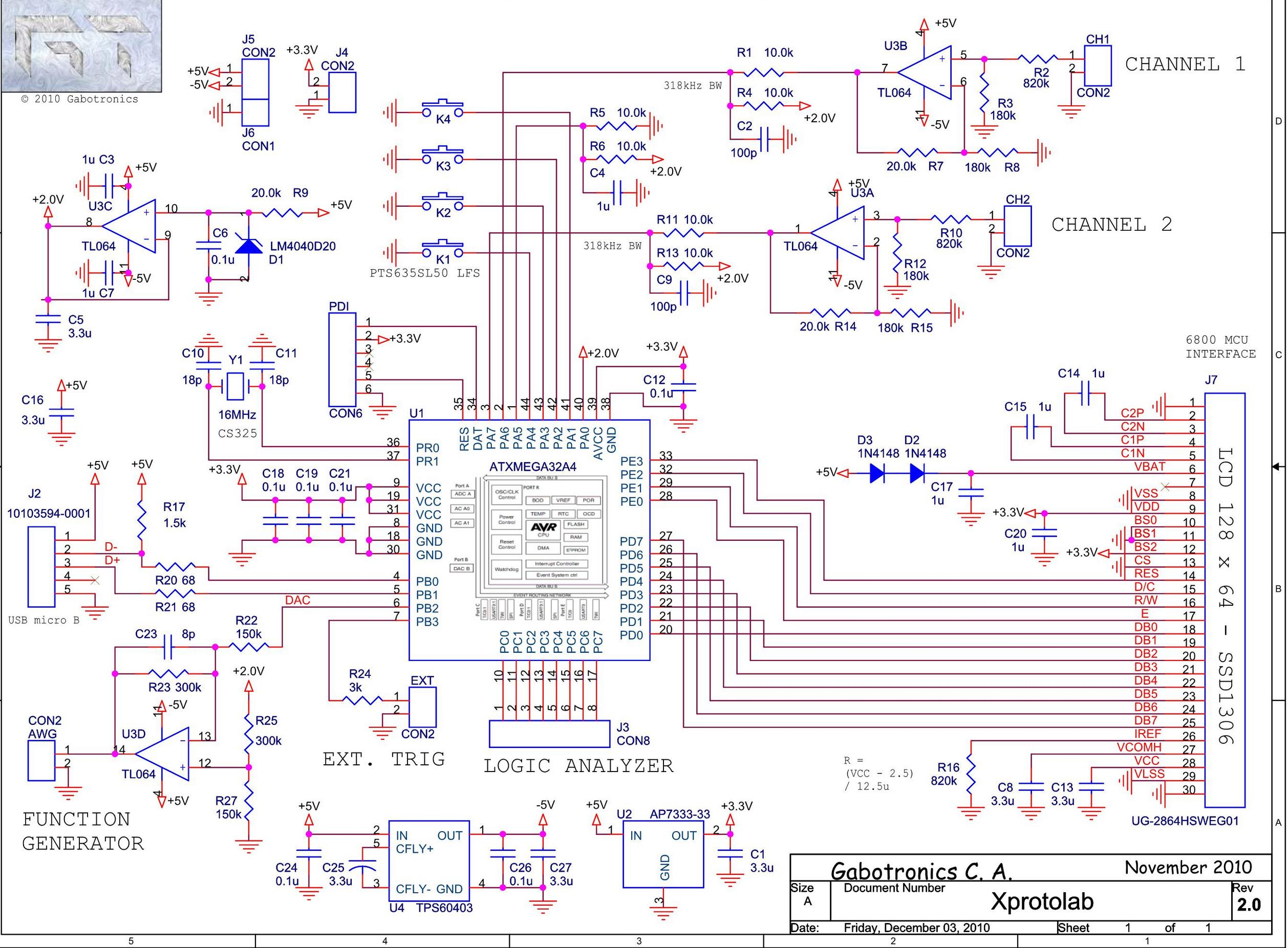Small Fully Featured ATXMEGA32 Scope Part 1 Schematic