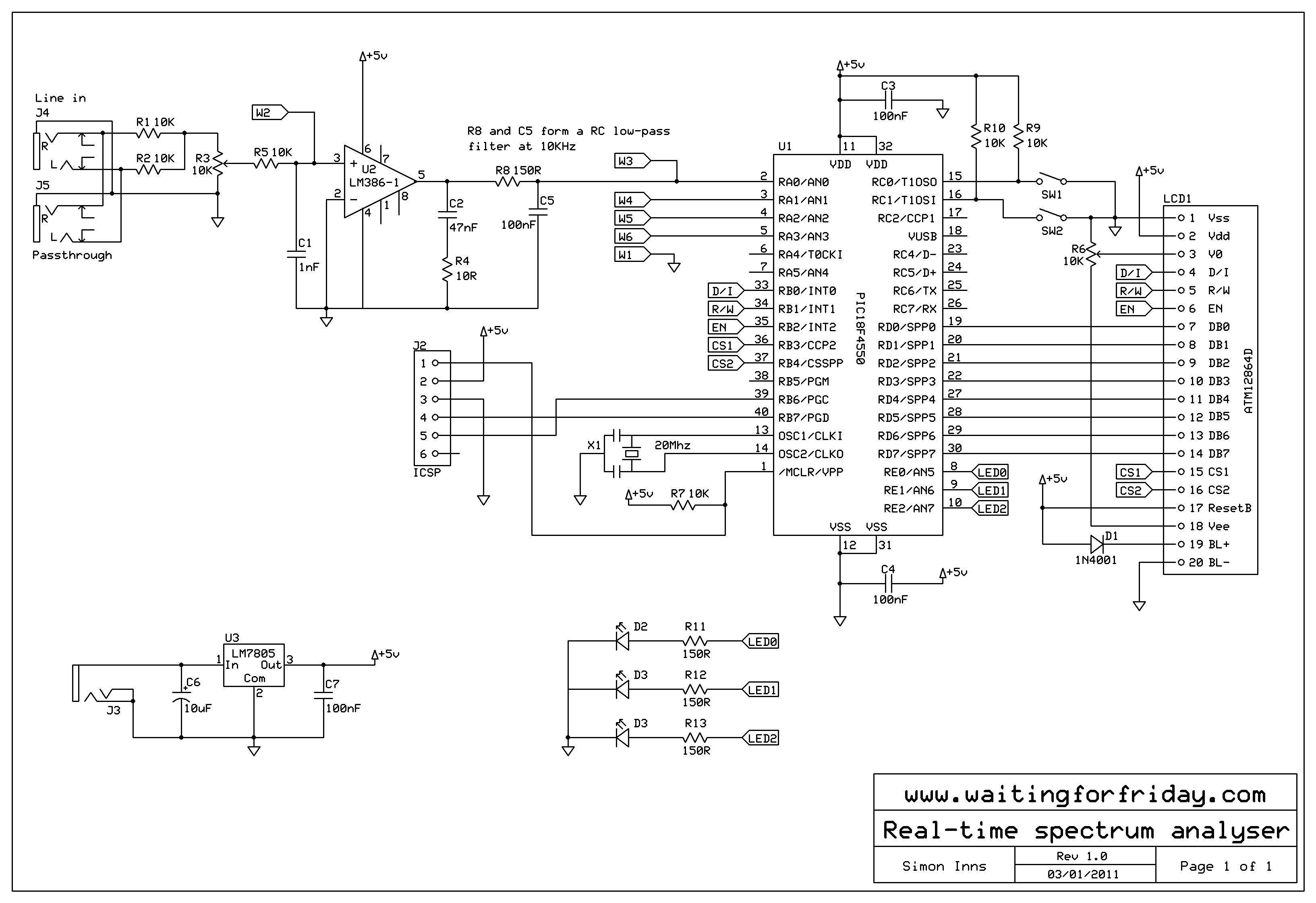 Принципиальная схема: анализатор спектра на PIC18F4550