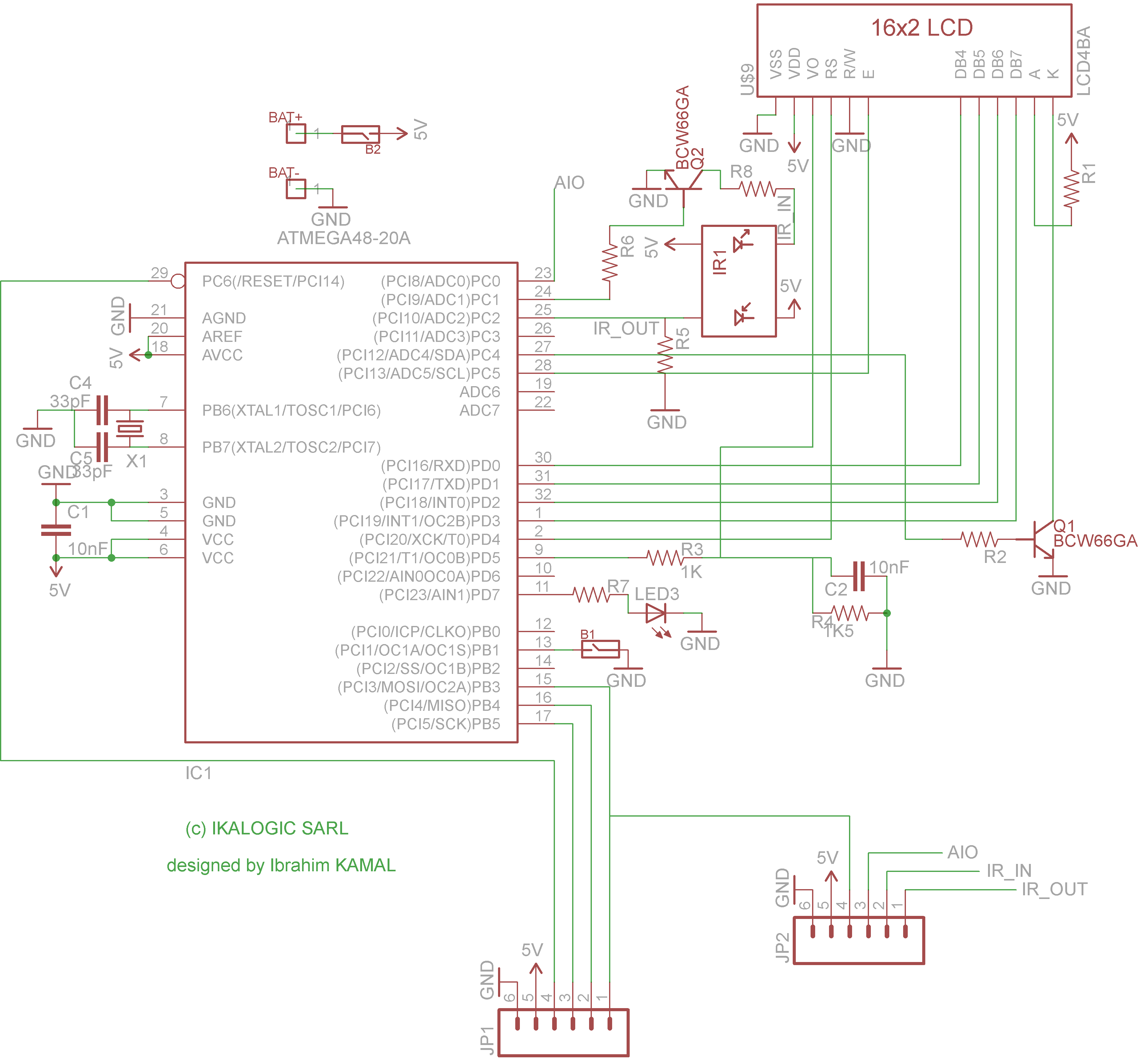 contactless Tachometer on AVR: Schematic Daigram