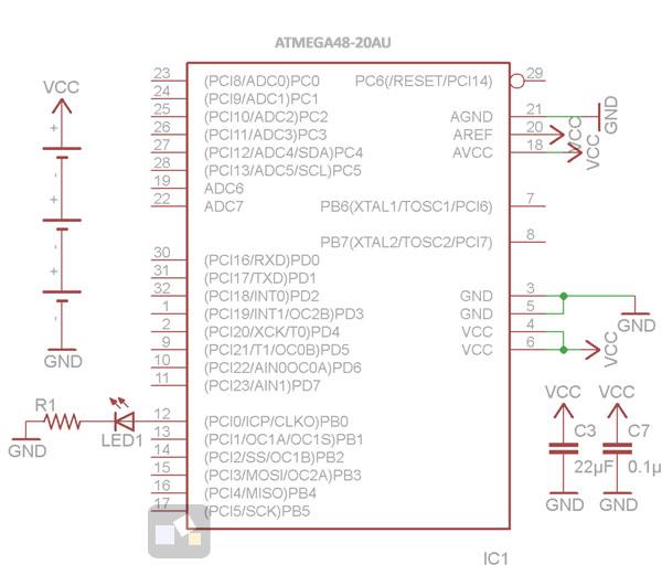 AVR: мониторинг напряжения питания, принципиальная схема