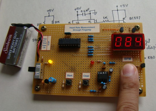 Heart Rate Measurement From Fingertip Part 1 Schematic