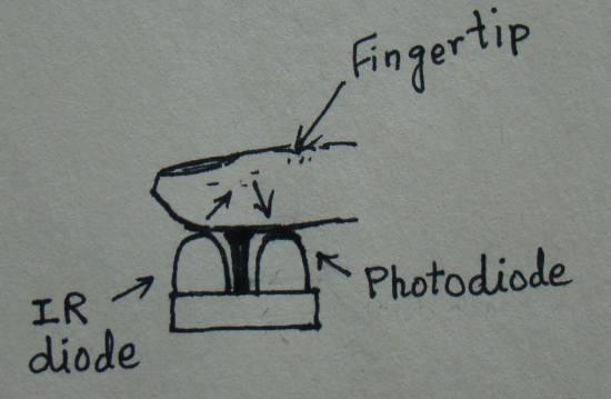 Heart rate measurement from fingertip: Sensor
