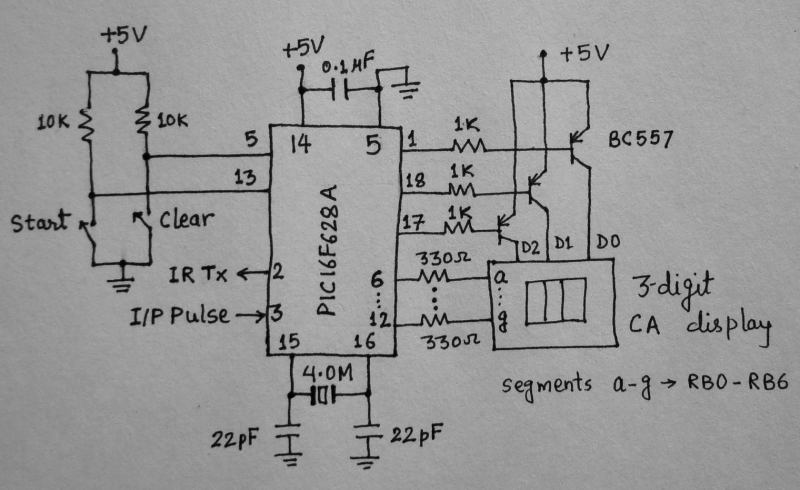 Heart rate measurement from fingertip: Microcontroller and display circuit
