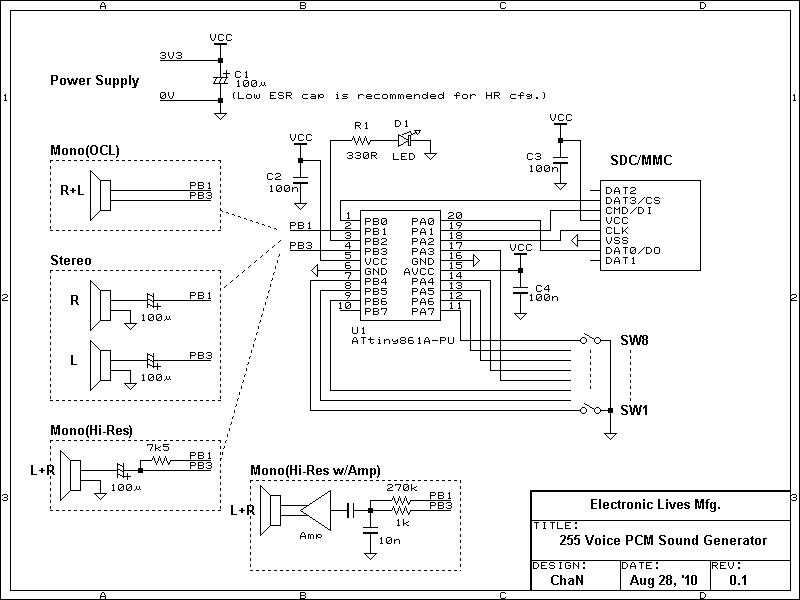255-Voice PCM Sound Generator Schematic